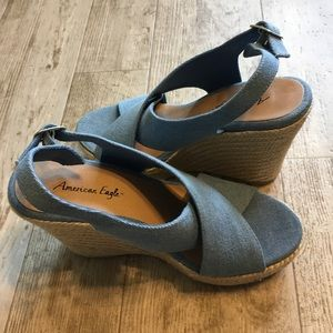 Chambray Sling Back Wedge